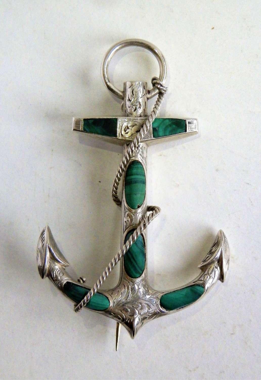 Scottish Victorian silver malachite anchor brooch
