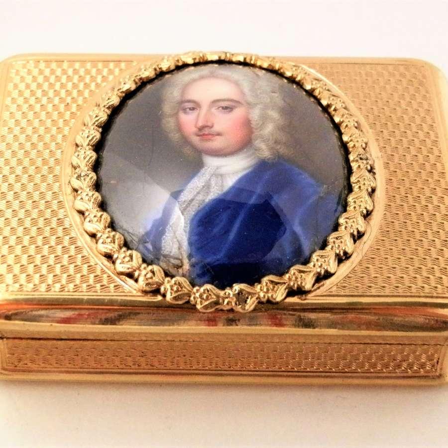 George III silver gilt portrait snuff box, London 1810
