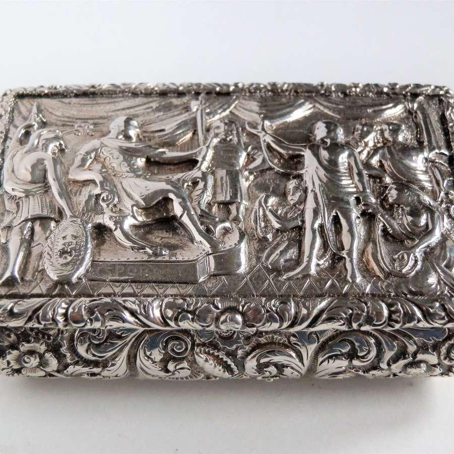 Early Nathaniel Mills silver snuff box, Birmingham 1828
