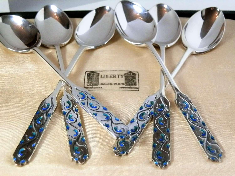 Liberty cased set silver tea spoons, Birmingham 1927