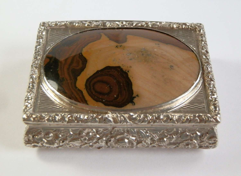 George IV silver and agate snuff box, Birmingham 1827