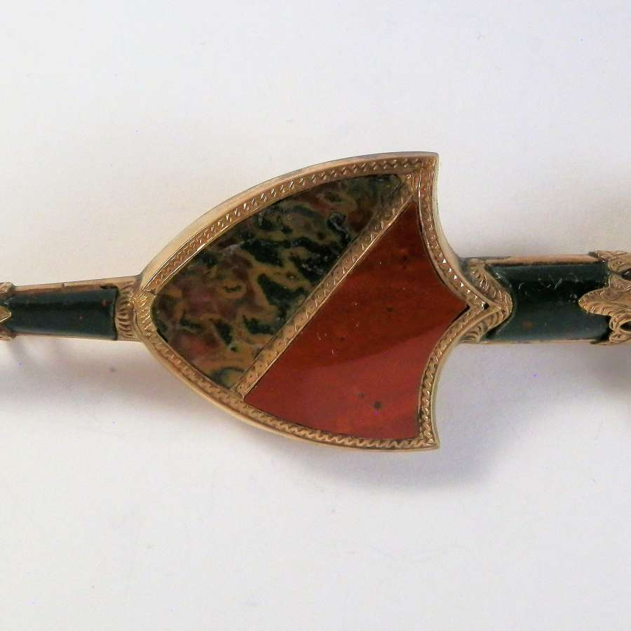 Victorian Scottish gold sword kilt pin, 1874