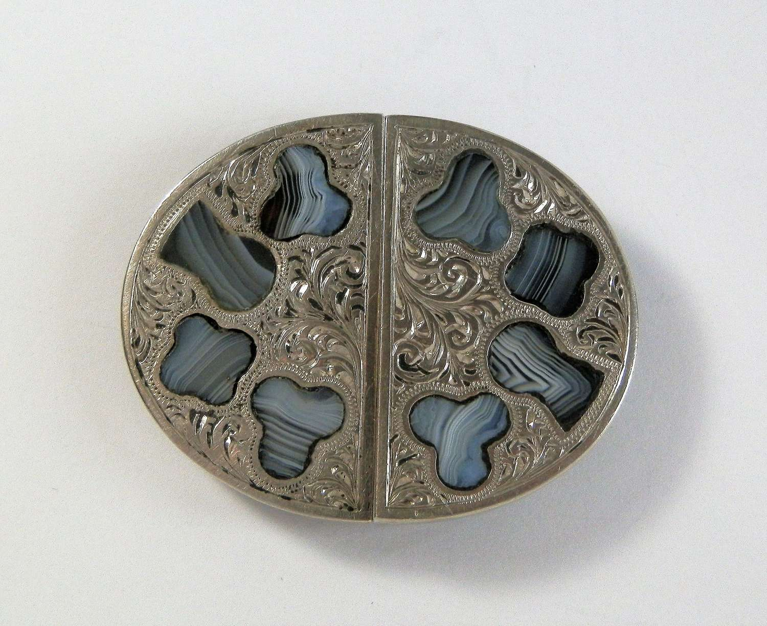 Victorian Scottish agate and silver buckle, c.1880