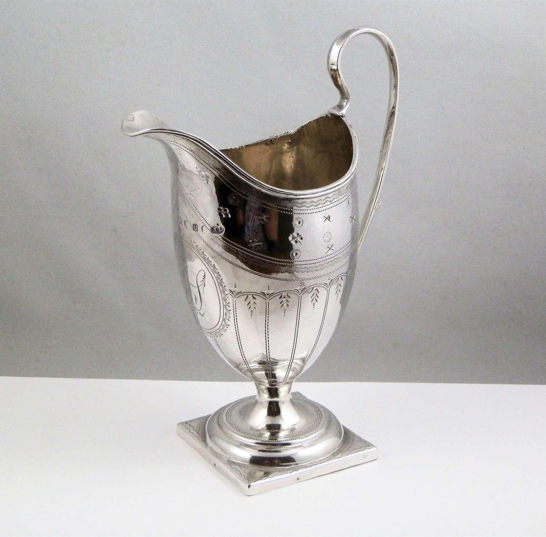George III silver helmet style cream jug, London 1795.