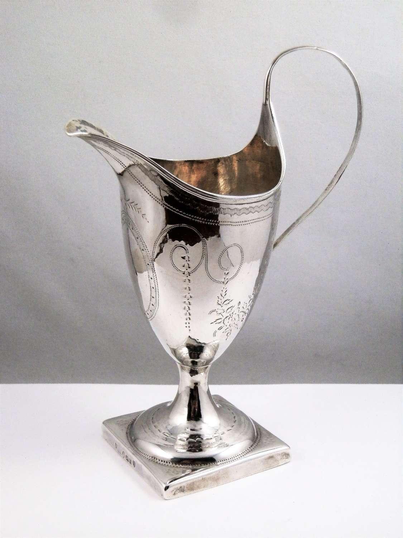 George III silver helmet style cream jug, London 1791