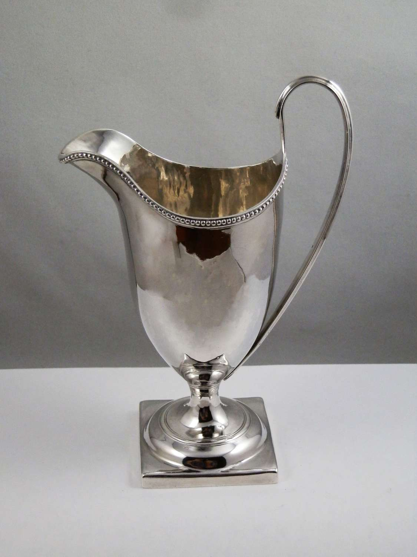 George III silver helmet style cream jug, London 1788