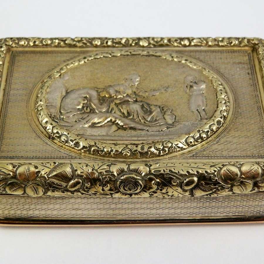 George III silver gilt cast top snuff box, London 1818