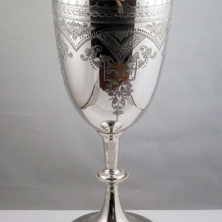 Victorian silver engraved chalice, London 1898