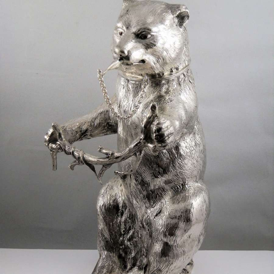 Silver bear cocktail shaker, German c.1950