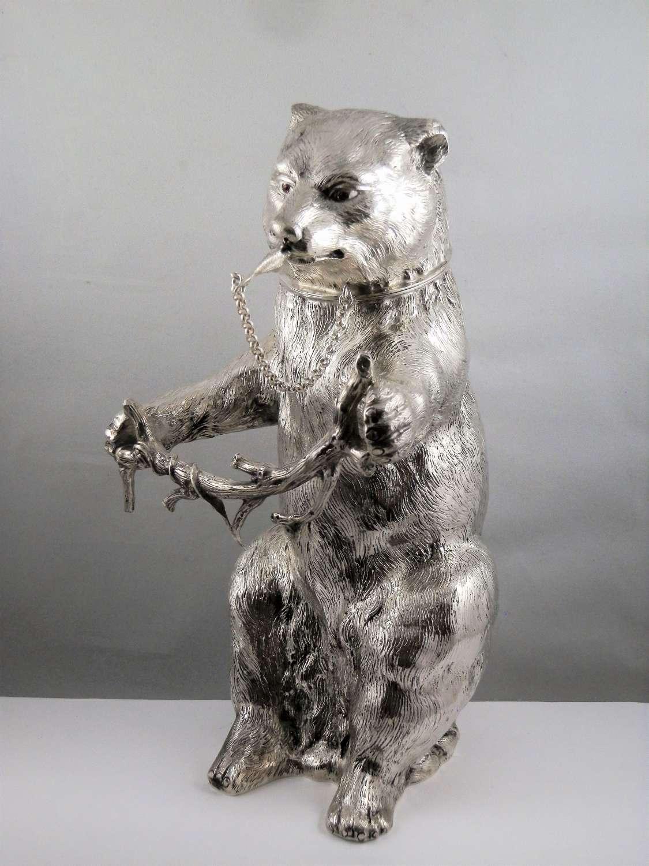 Silver bear cocktail shaker, German c.1950