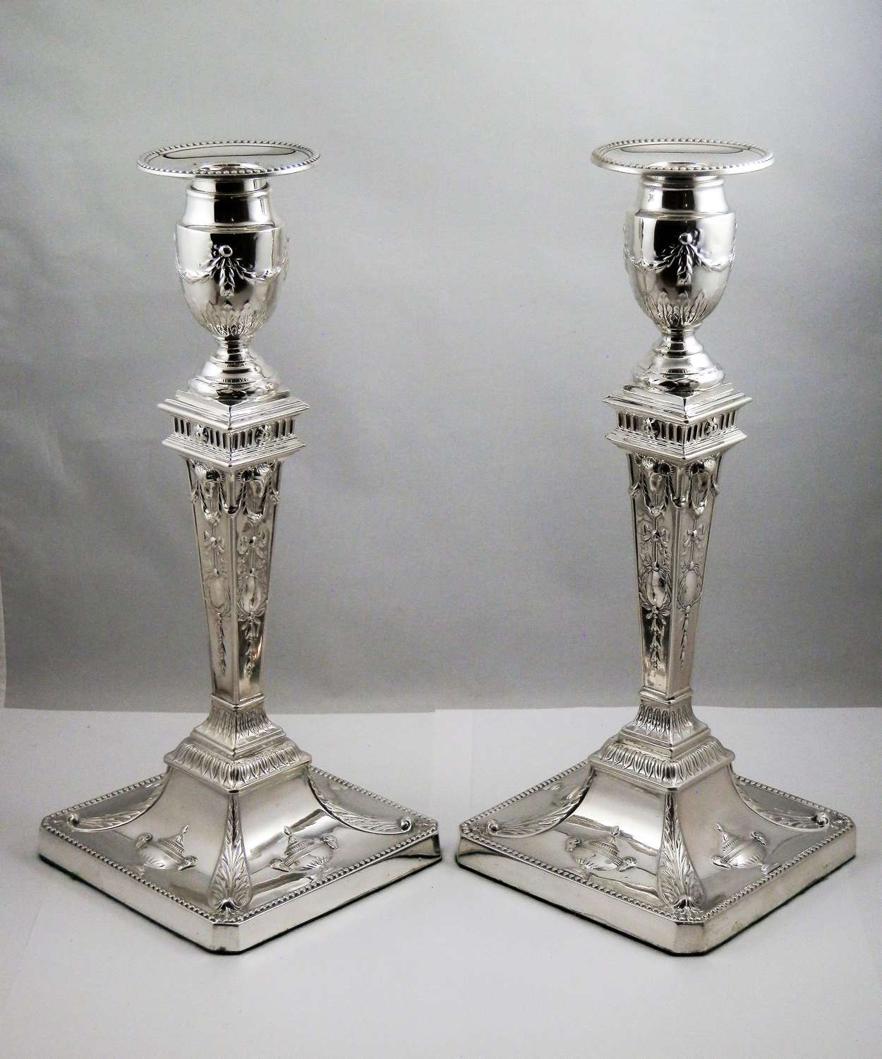 Victorian silver candle sticks, Sheffield 1899