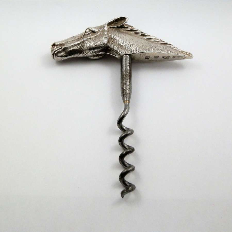 Silver horse head corkscrew, A.E. Jones 1979
