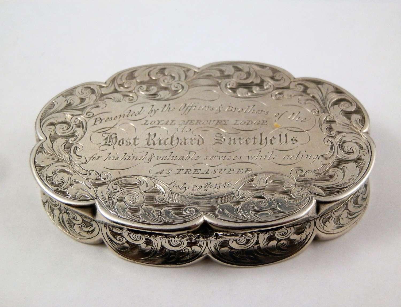 Victorian silver oval snuff box, Nathaniel Mills 1843
