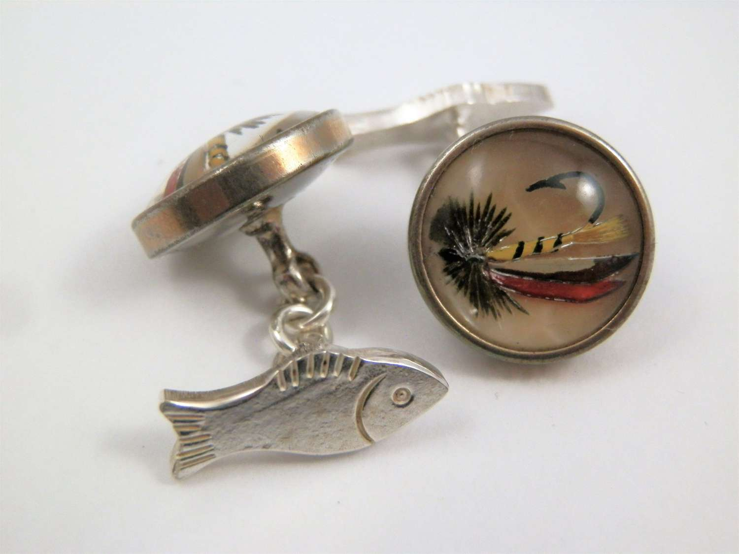 Pair of silver salmon and fly cufflinks, c. 1960