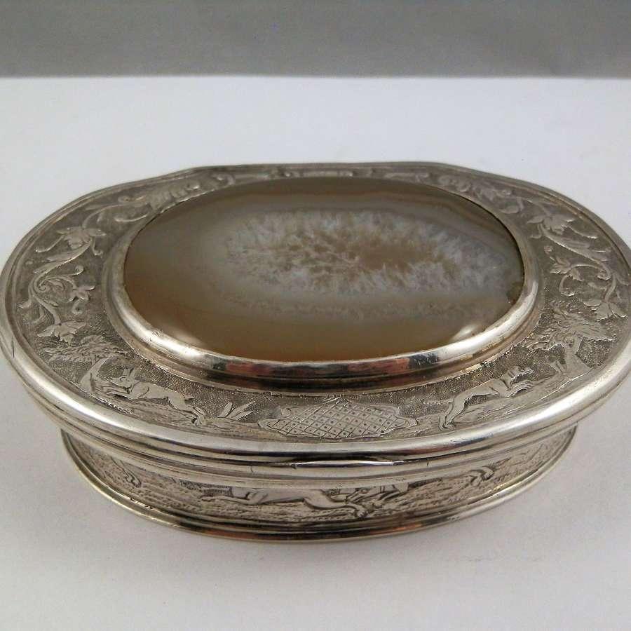 Scottish silver and agate snuff box c. 1750