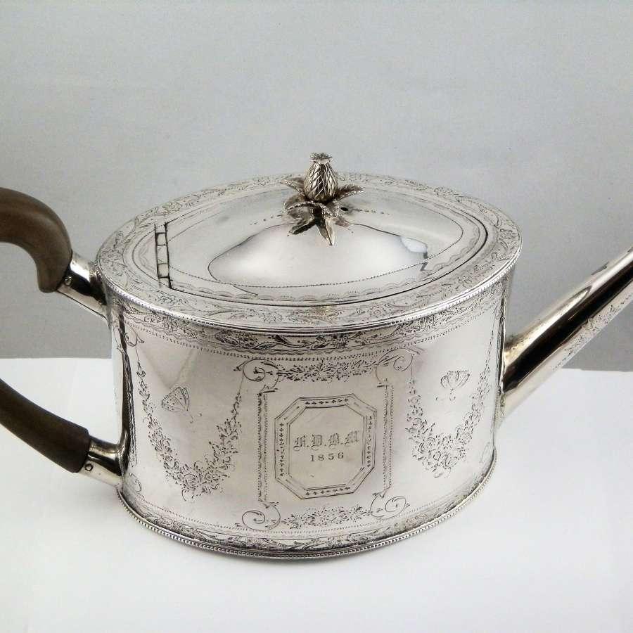 Scottish Provincial Silver teapot, J. Erskine Aberdeen, c.1790