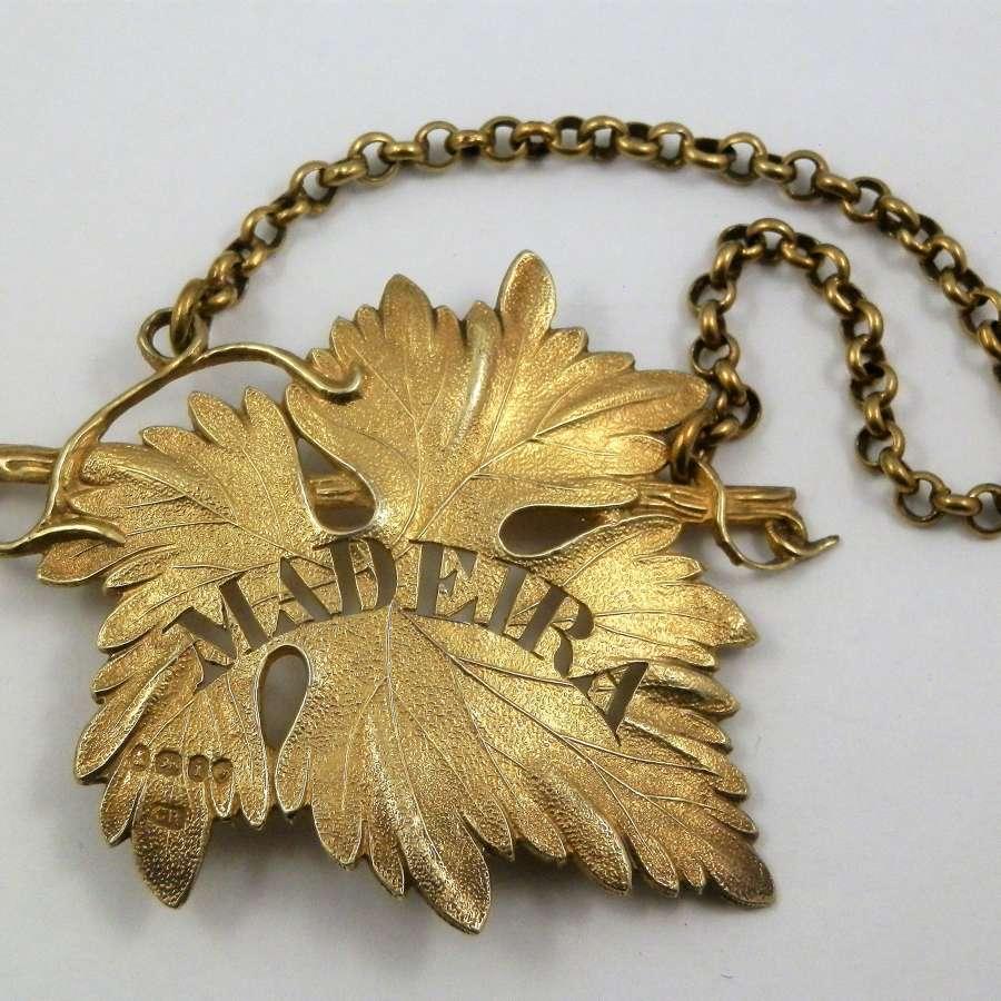 George IV silver gilt Madeira label, London 1824