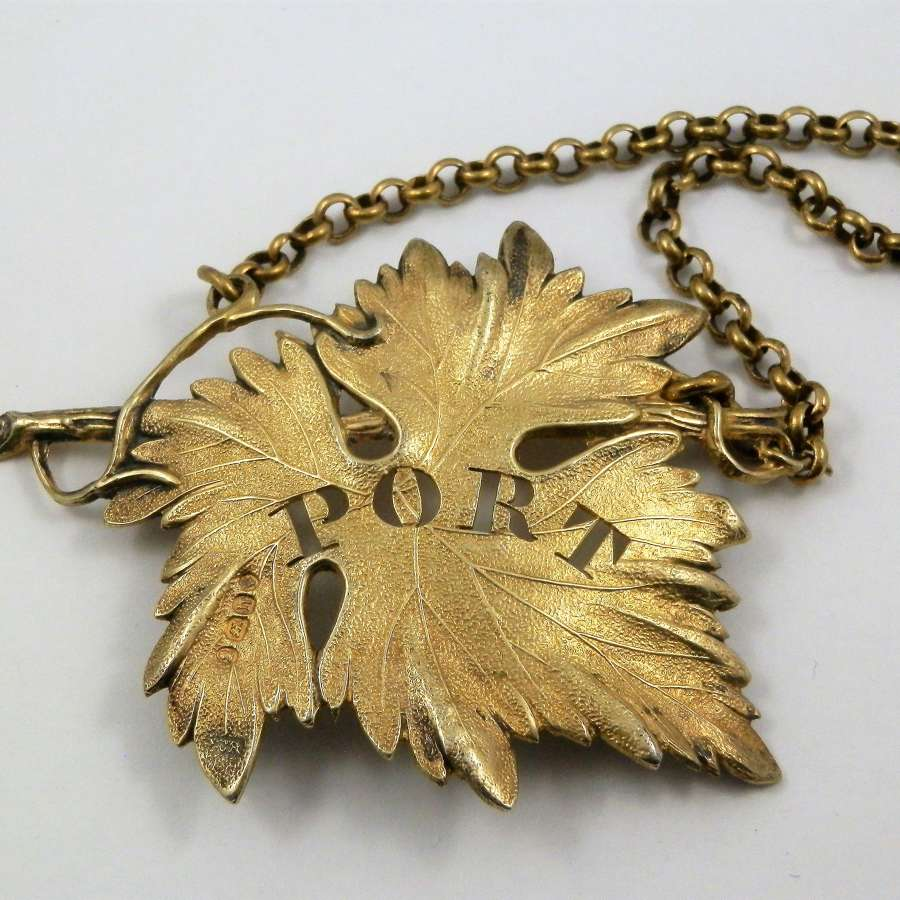 George IV silver gilt Port label, London 1823