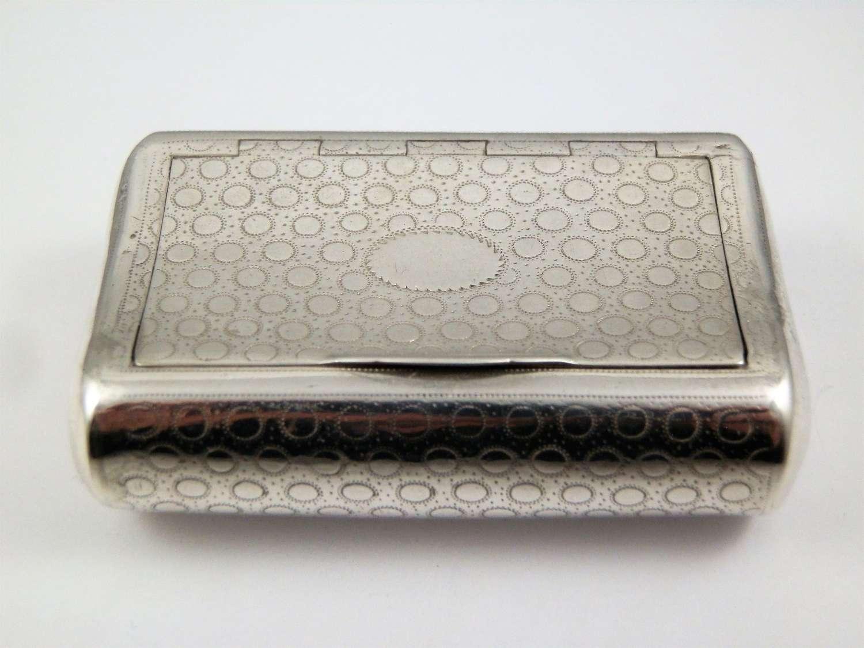 George III curved silver pocket snuff box, Birmingham 1810