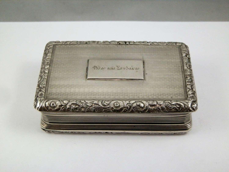 George IV silver presentation snuff box, Birmingham 1822