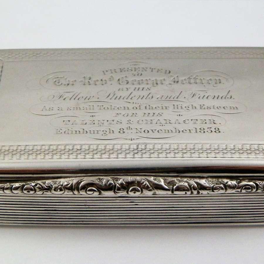 A William IV silver presentation snuff box, Birmingham 1827