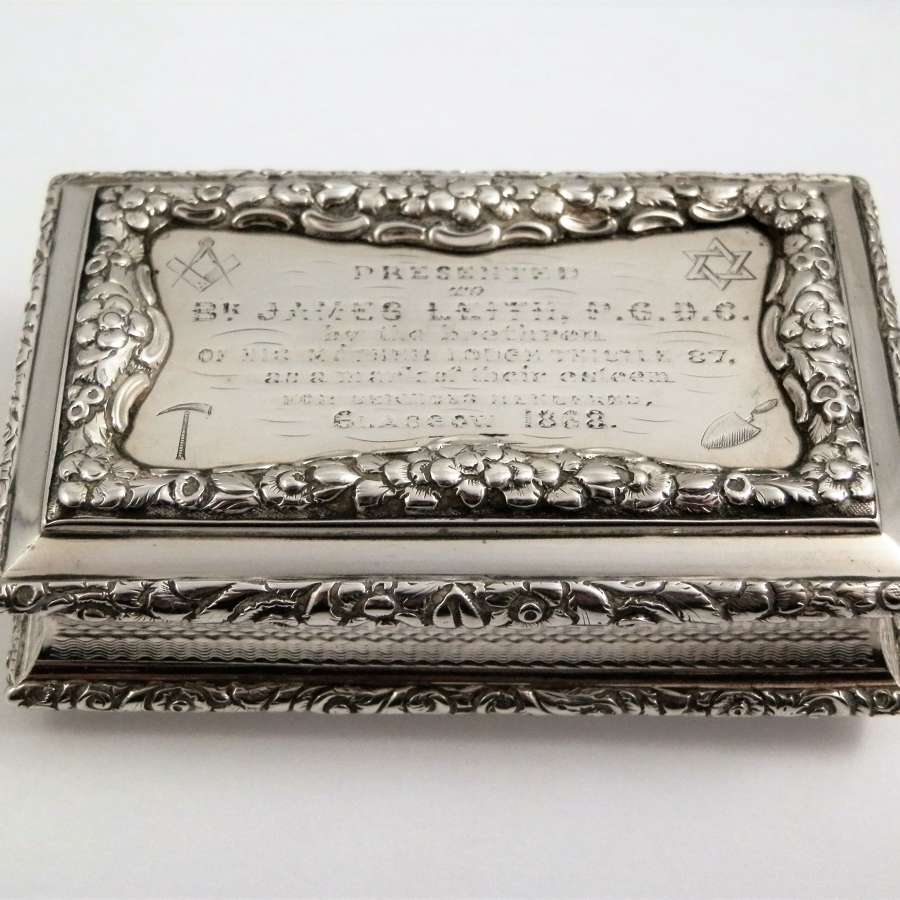 A William IV silver table masonic snuff box, Nathaniel Mills 1827