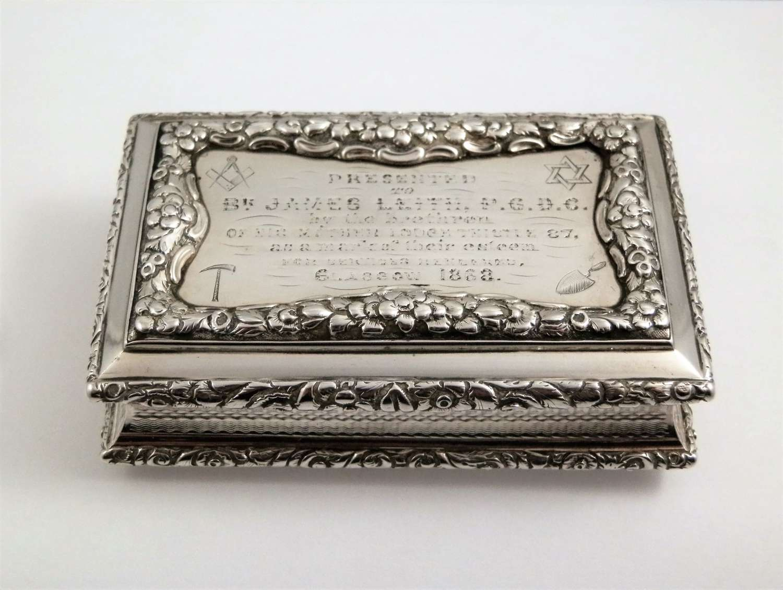 A William IV silver table masonic snuff box, Nathaniel Mills 1827