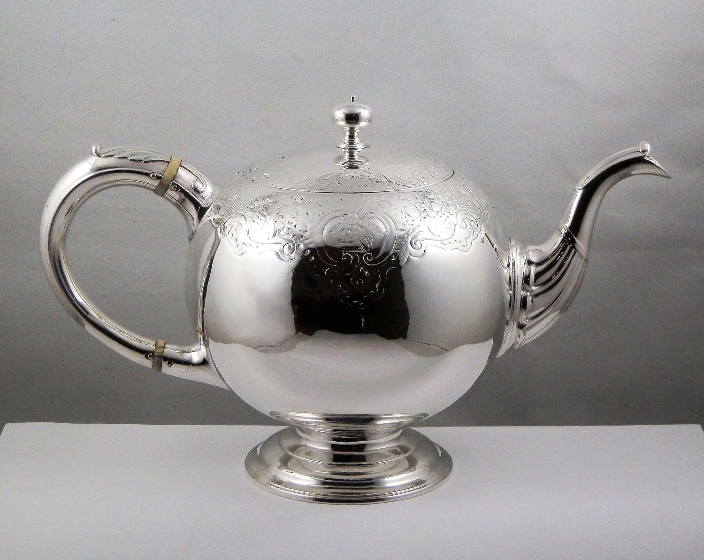 George II Scottish silver bullet teapot, James Ker 1746