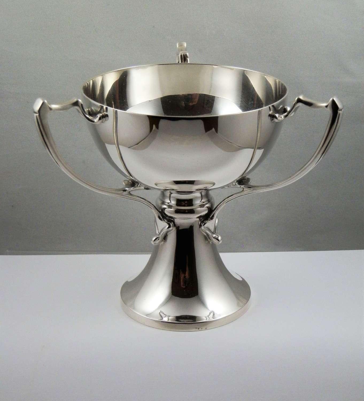 Edwardian Art Noveau 3 handled cup, Birmingham 1909