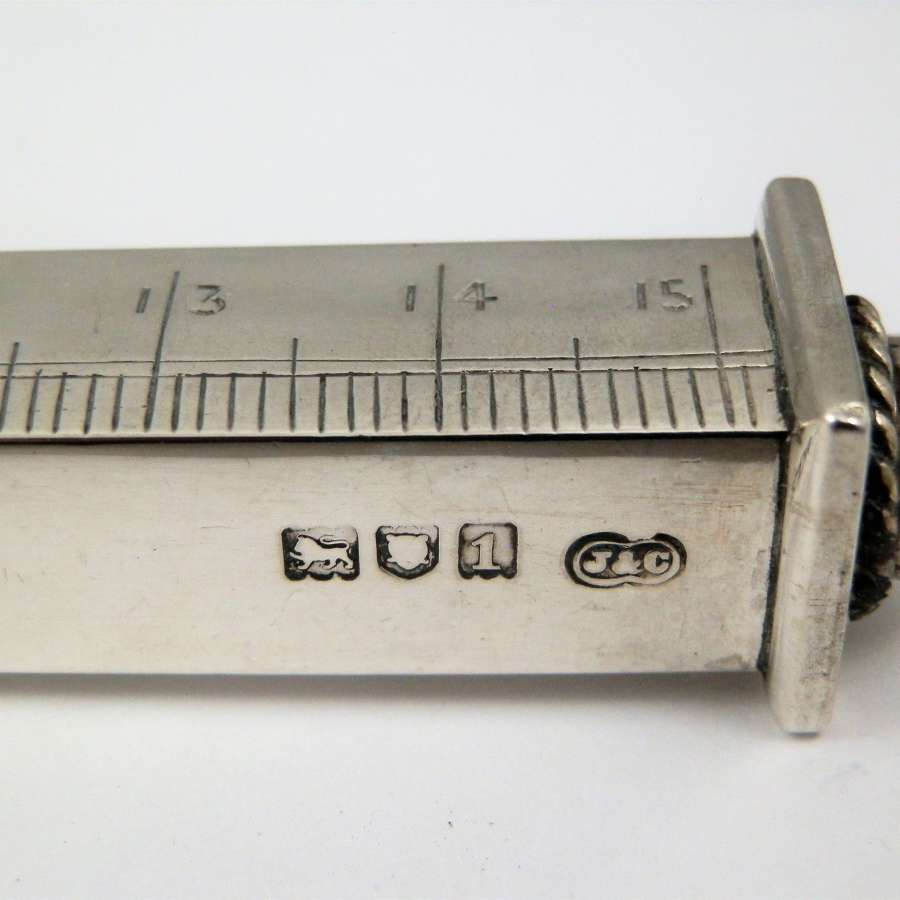 Edwardian silver 6 inch desk ruler, London 1906