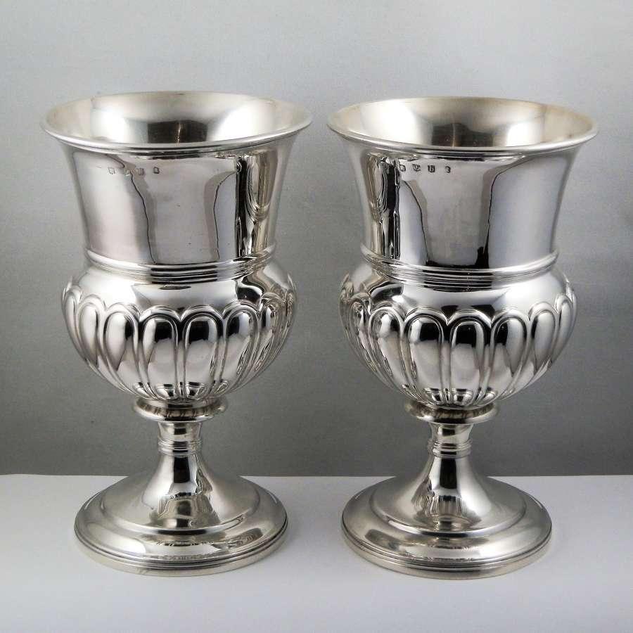 George III pair Scottish silver goblets, Edinburgh 1813