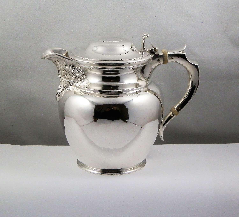 Edwardian Scottish silver hot water jug, Glasgow 1908