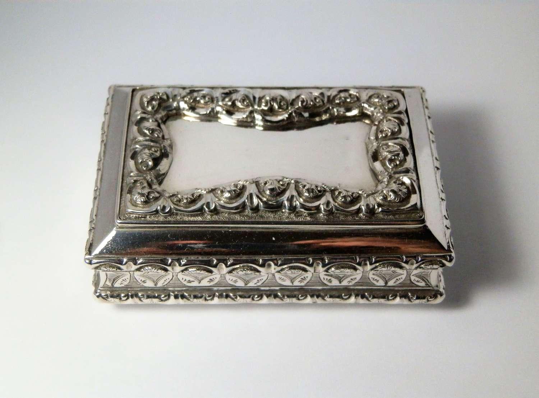 Victorian silver table snuff box, Aston & Co 1860