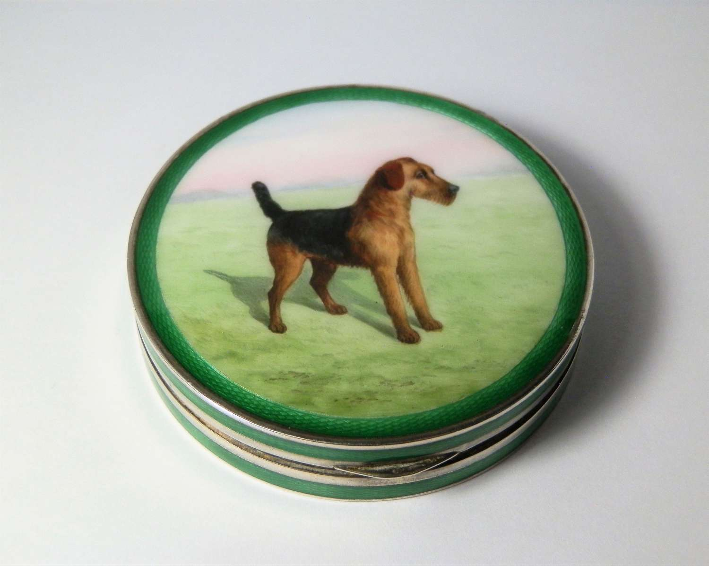 Enamelled silver box, Terrier Dog lid 1927