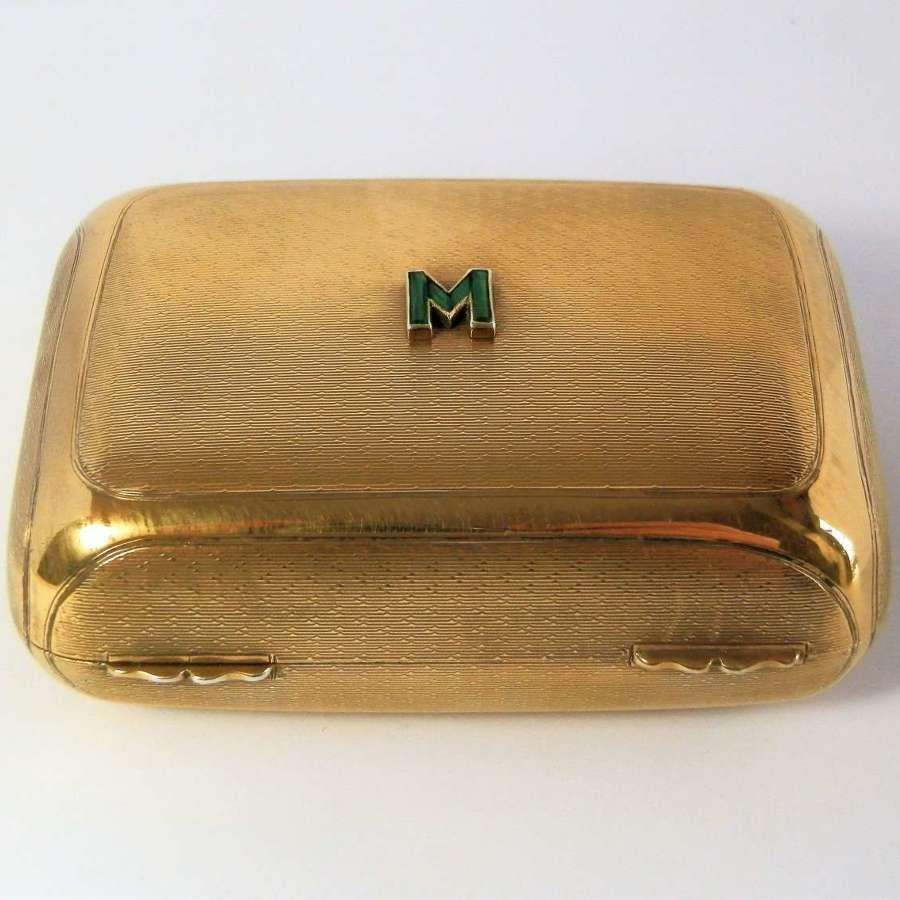 Edwardian emerald set silver gilt soap box, London 1910