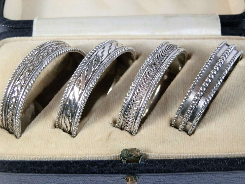 Art Deco silver napkin rings by H. G. Murphy, London 1929