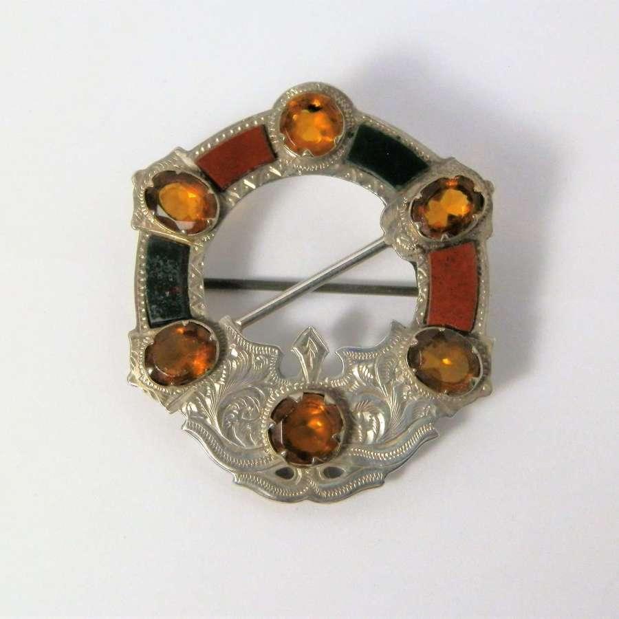 Victorian Scottish silver, agate and citrine brooch, 1874