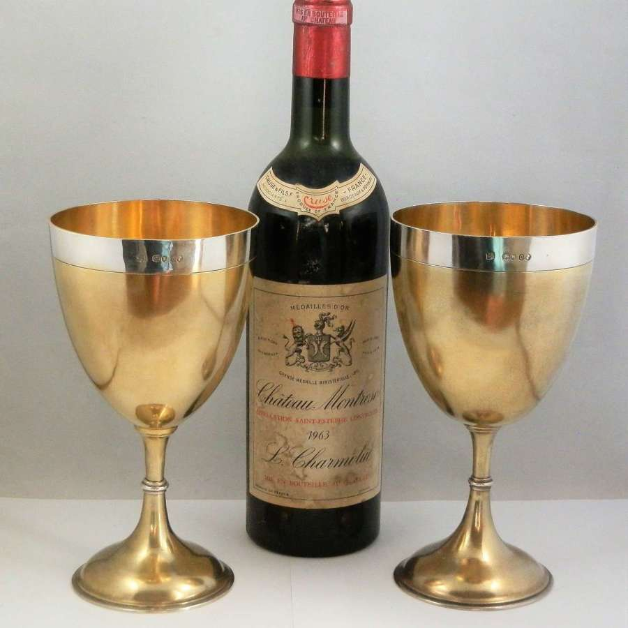 Pair of Victorian silver gilt goblets, London 1869