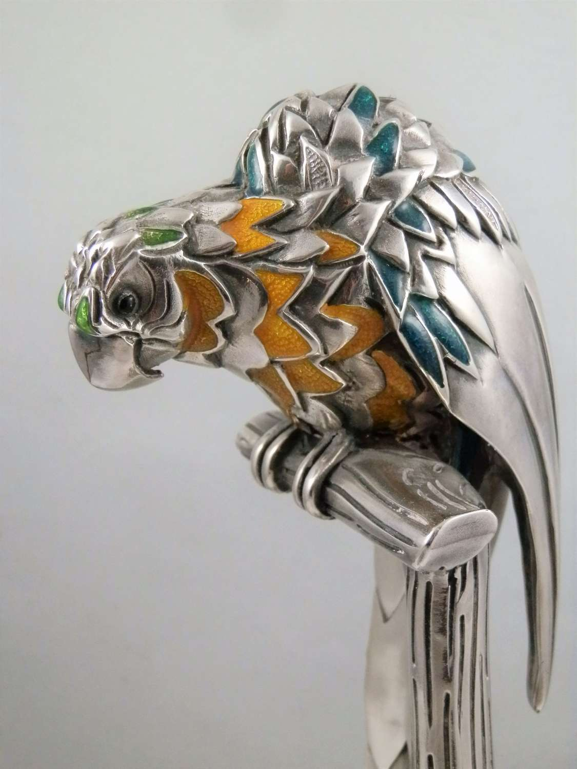 Italian silver and enamel parrot statue by Ottoviani