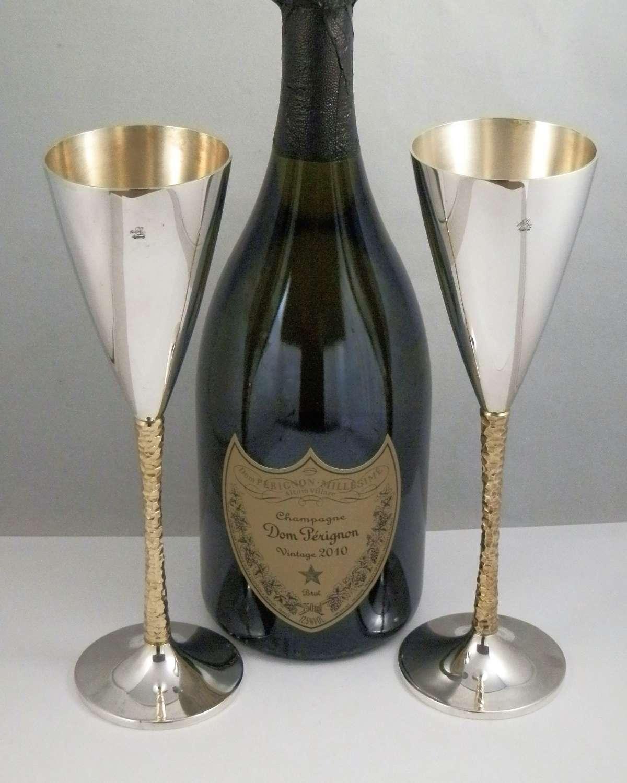 Elizabeth II silver gilt champagne flutes, Stewart Devlin 1977