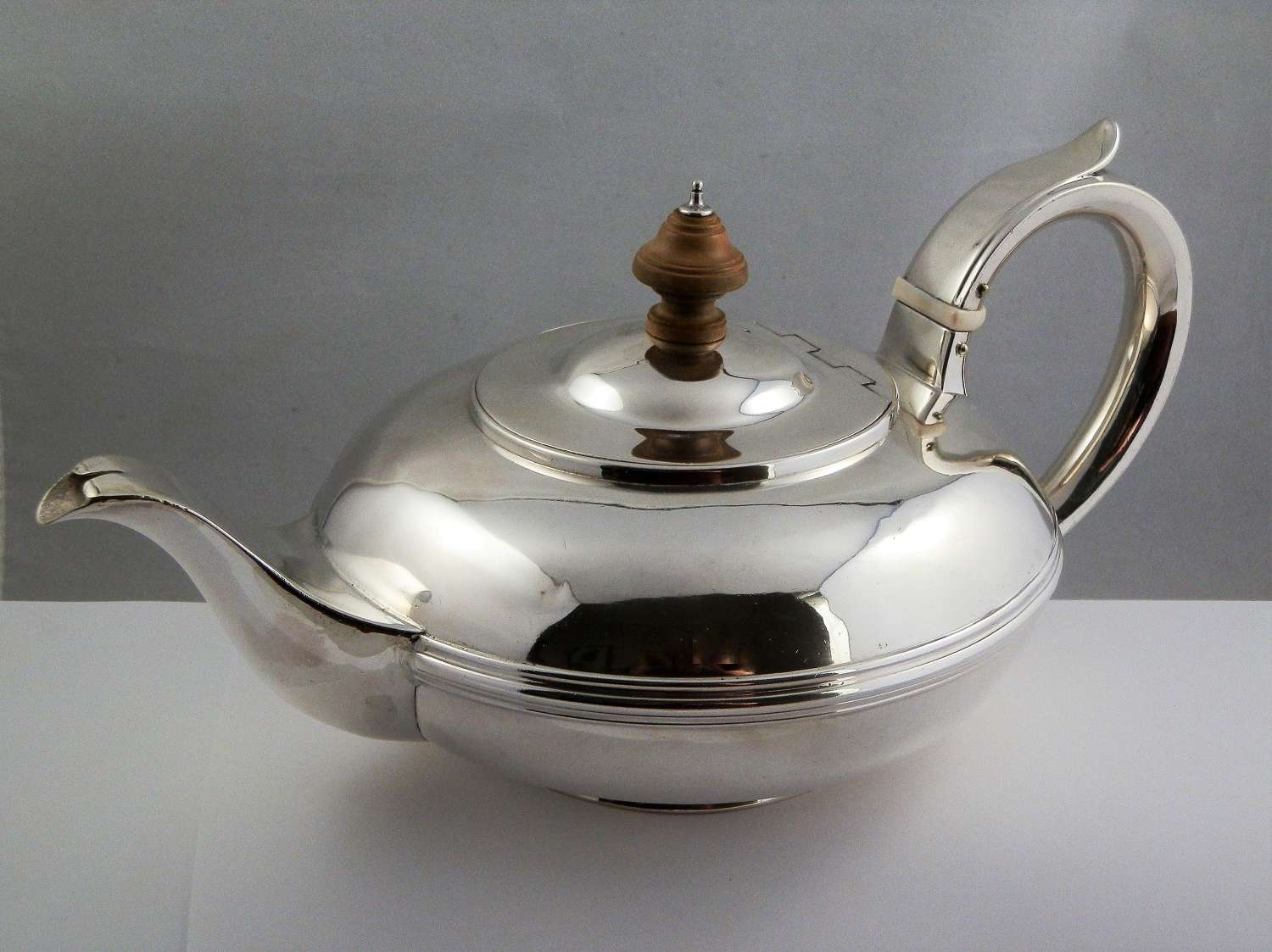 William IV York silver teapot, Barber and North, York 1838