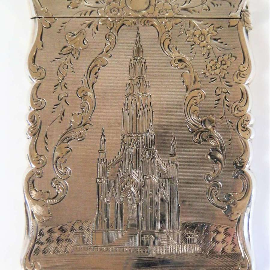 Victorian silver Card Case, Nathanial Mills, Scott Monument,1852