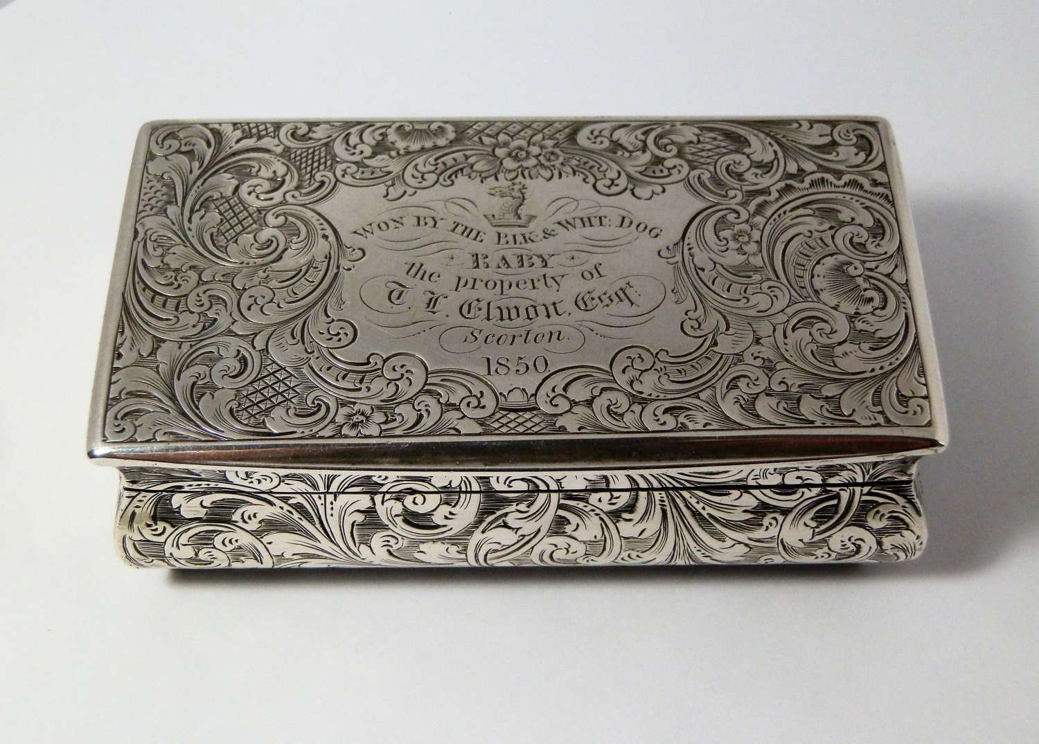 Victorian silver table snuff box, Taylor and Perry, 1849