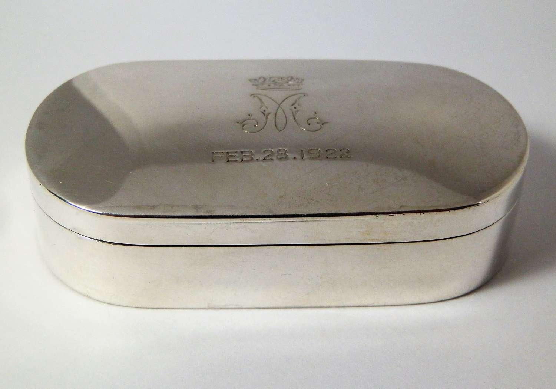 George V silver snuff box, Royal Wedding of Princess Mary, 1922