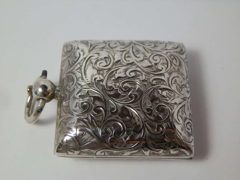 Edwardian silver square sovereign case, Birmingham 1902
