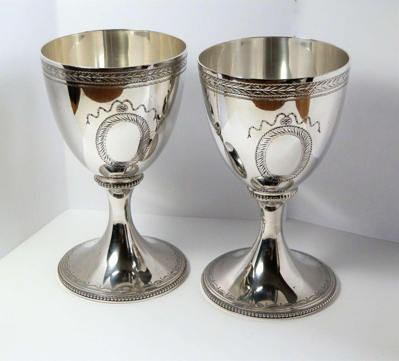 Pair of Elizabeth II silver wine goblets, C.J. Vander London 1968