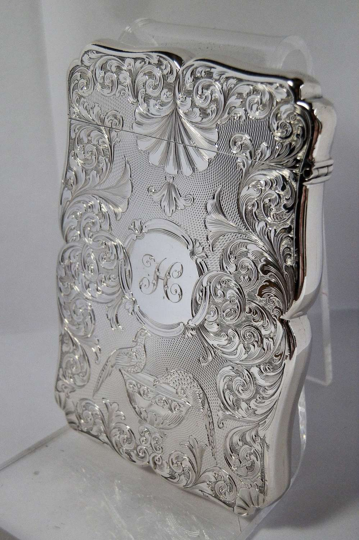 Victorian silver card case, Nathaniel Mills, 1839