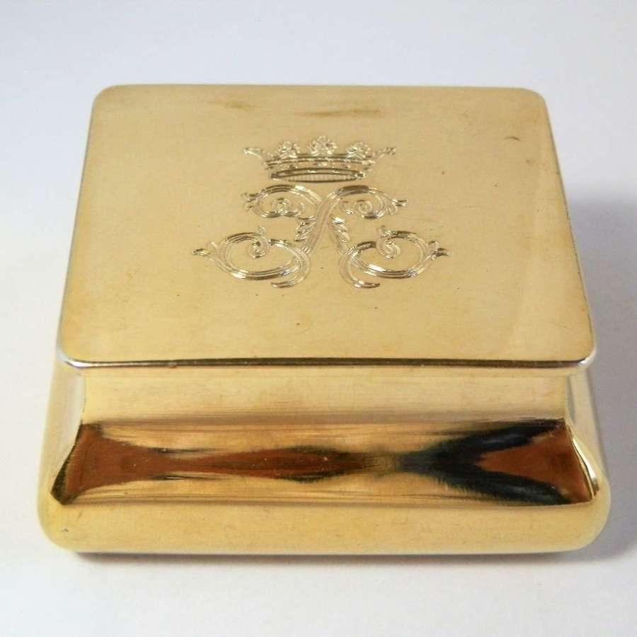 Edwardian silver gilt, snuff box, Asprey of London 1904