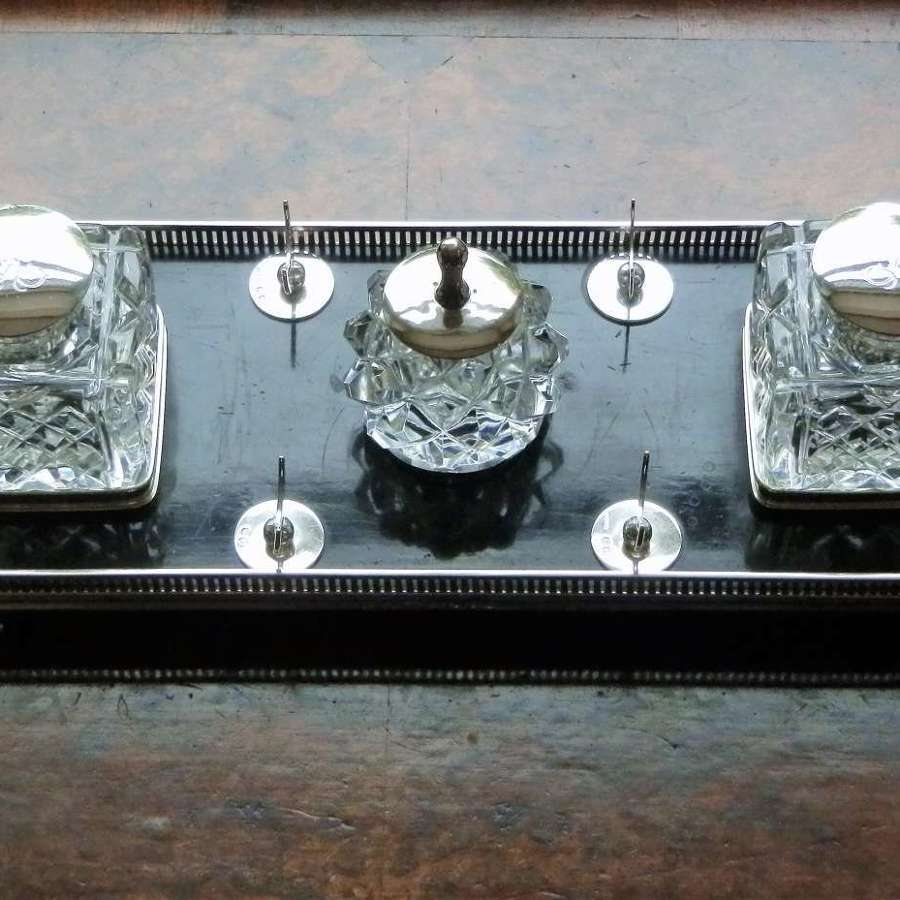 A Victorian large silver desk inkwell, Duke's crest, London 1893