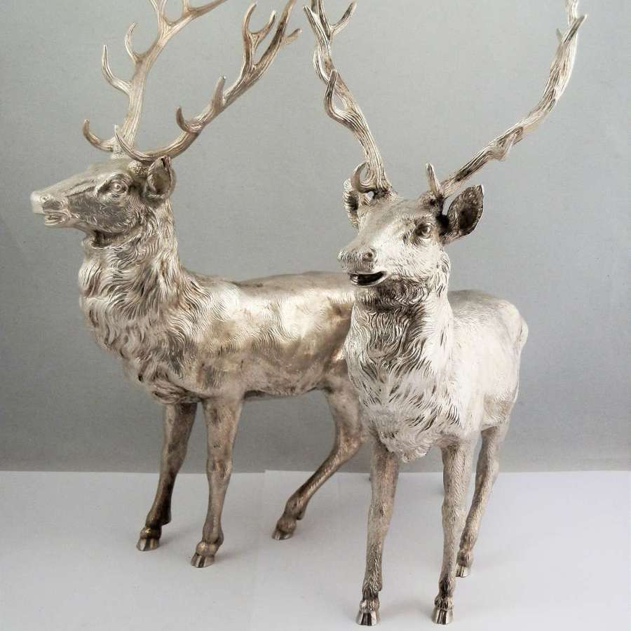 A pair of large sterling silver stags, C.J.Vander Sheffield 1999